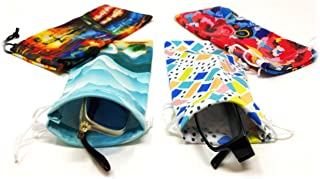 Eyeglass Pouches | Soft Cases for Storing/Protecting Glasses, Multicolor Unique Design Sunglasses & Reading Glasses (4 Pack)