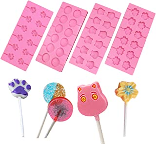 Silicone Lollipop Mould Round Cat Claws Blossoms Cows Trays Jelly Candy Ice Cube Chocolate Cookies Lollypop Baking Mold Pack of 4