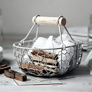 Cesta de almacenamiento Tuof para pan, estilo vintage, de hierro forjado antiguo, cesta de almacenamiento de cocina, cesta de frutas
