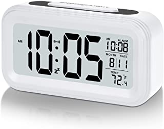 SZELAM Battery Digital Alarm Clock,LCD Clock Electronic for Bedroom Home Office ,with Date,Indoor Temperature,Snooze Light,Small-Sized,Backlight-White