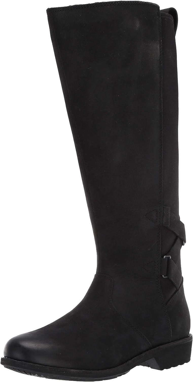 Teva Womens womens Ellery Tall Waterproof Burnished Boots,BLACK,