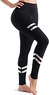 LANCS High Waisted Leggings for Women with Pockets Sauna Sweatpants Yoga Pants Workout Running Tights Tummy Control