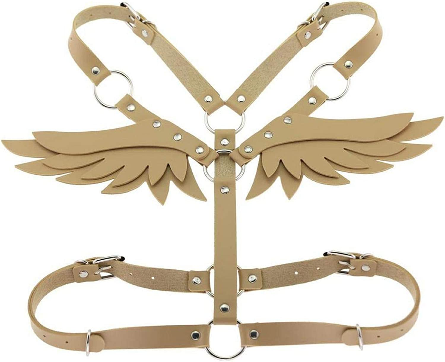 CaCoo Wings Leather Harness Goth Punk Body Chain Women Strap Summer Festival Girls Lingerie cage Harness Rave Babe Jewelry