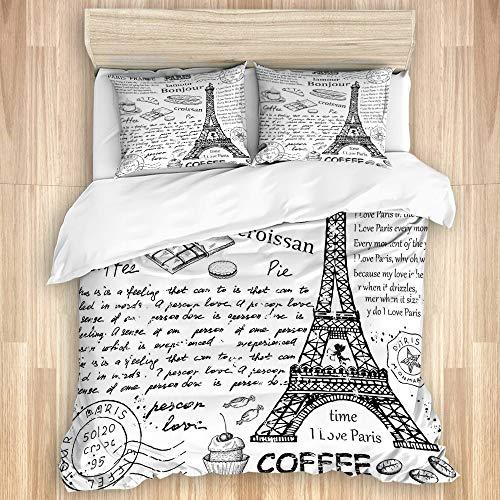 MIFSOIAVV Funda nórdica de algodón ,Elementos Parisinos Famosos Tradicionales Café Bonjour Croissan Torre Eiffel,Juego de Cama Suave de Lujo de 3 Piezas
