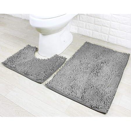 Ensemble de tapis de bain 2 pièces Ensemble de piédestal antidérapant Tapis de salle de bain, absorbant l'eau, tapis de baignoire, tapis de piédestal de toilette en forme de U, tapis de douche (Gris)