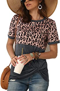 MAXIMGR Women Fashion Leopard Print Color Block Splice Shirts Casual Short Sleeve Tie Knot Front Top Tees Blouse