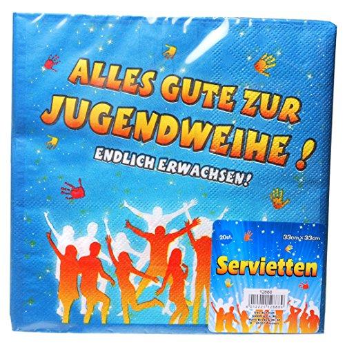 Udo Schmidt GmbH & Co Servietten Alles Gute zur Jugendweihe, ca. 33 x 33 cm, 20 St.