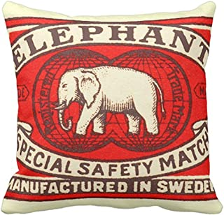 Throw Pillow Cover Red Vintage Elephant Yellow Matchbook Decorative Pillow Case Home Decor Square 18 x 18 Inch Pillowcase