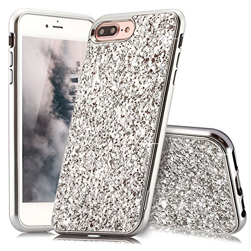 Coque iPhone 8 Plus Argent Coque Slynmax Silicone Paillette Strass Brillante Bling Glitter de Luxe Bumper Housse Etui de Protection [Fin] [Anti Choc] pour Apple iPhone 7 Plus Glamour