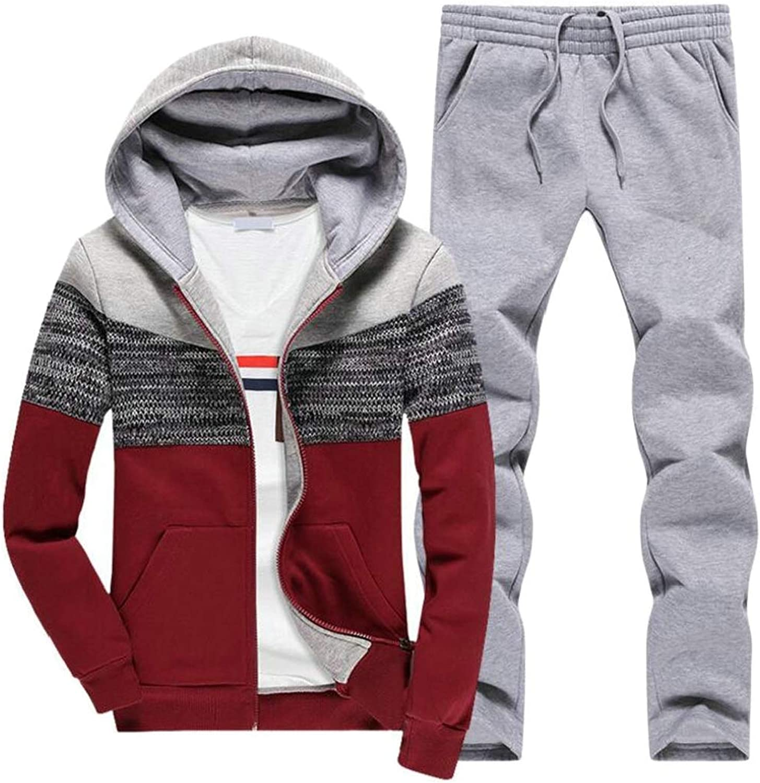 Alion Men's Full Zip Hoodies Jacket and Pants Sport Suit Tracksuit