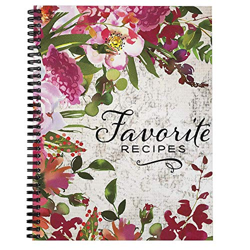 "Softcover Favorite Recipes 8.5"" x 11"" Spiral Recipe Notebook/Journal, 120 Recipe Pages, Durable Gloss Laminated Cover, Black Wire-o Spiral. Made in the USA"
