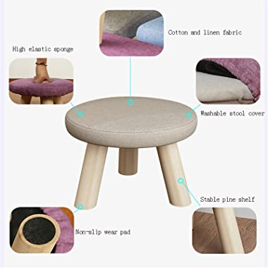 lyqqqq Ottomans Cloth Changing Shoes Footstool Home Solid Wood Round Stool Creative Living Room Mushroom Stool Small Stool Lo