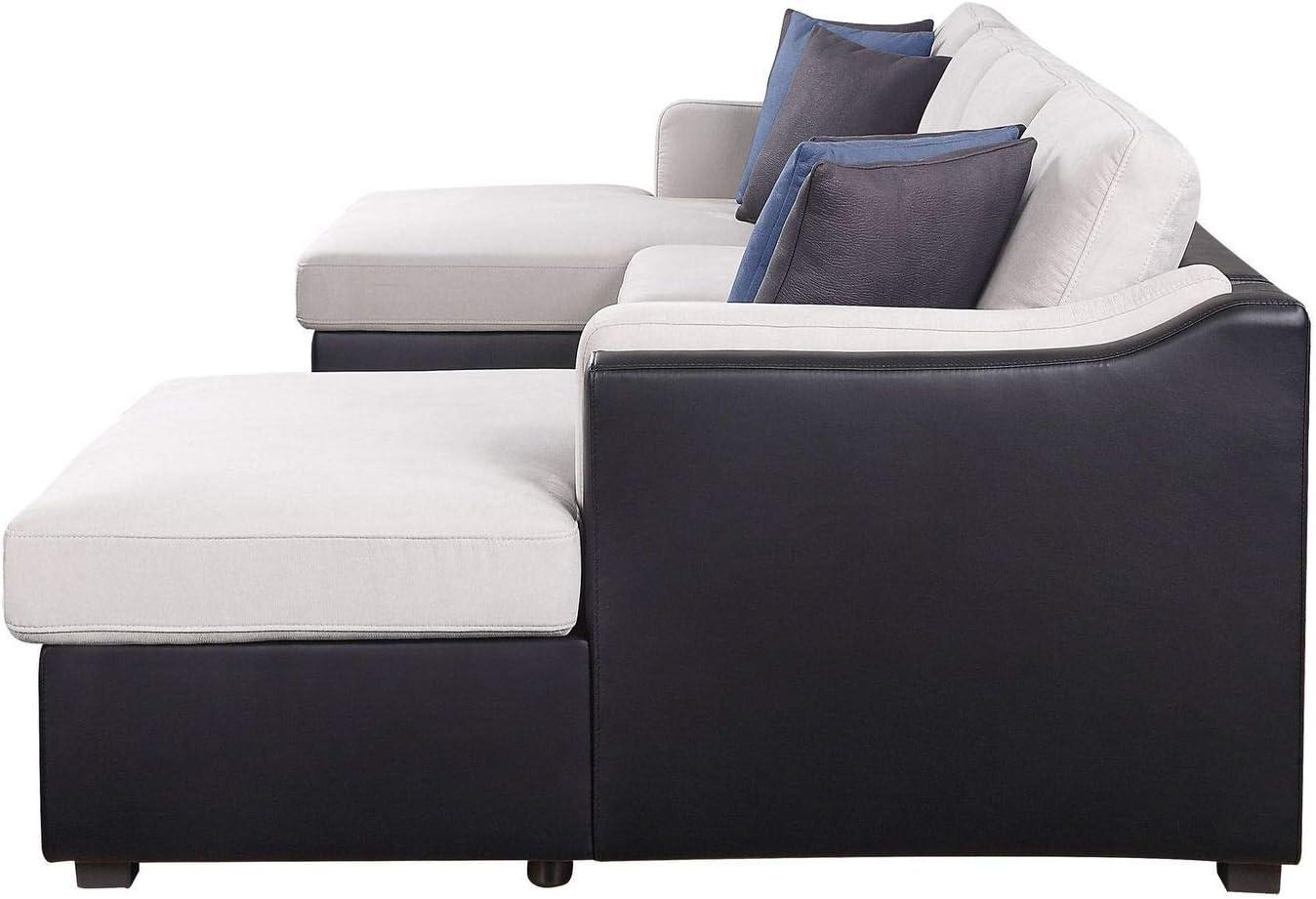 Pumpumly Merill Sectional Sofa w Ranking TOP15 P Black Fabric overseas Beige Sleeper