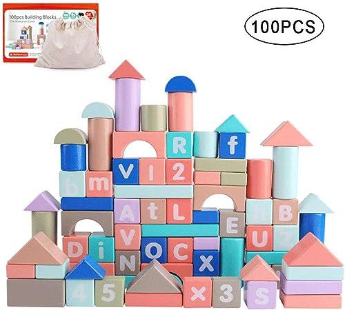 Rclhh Jeu De Construction - Jouets éducatifs pour Enfants Lettres Numériques Mavoitureon d'apprentissage en Bois Blocs de Construction Jouets(100 PCS)