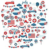 Paper Die Cuts - Made in The USA - for 4th of July - Over 60 Cardstock Scrapbook Die Cuts - by Miss Kate Cuttables