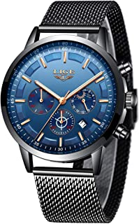 Men's Watches LIGE Fashion Luxury Military Sport Waterproof Chronograph Watch for Men Classic Casual Analog Quartz Wrist Watch with Silver Black Stainless Steel Band
