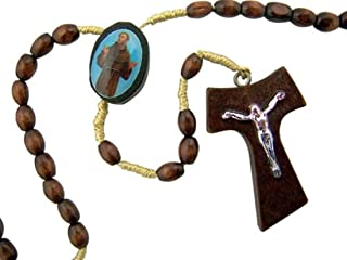 Saint St Francis of Assisi 5MM Wood Bead 13 Inch Cord Hand Bible Rosary with Tau Cross Crucifix