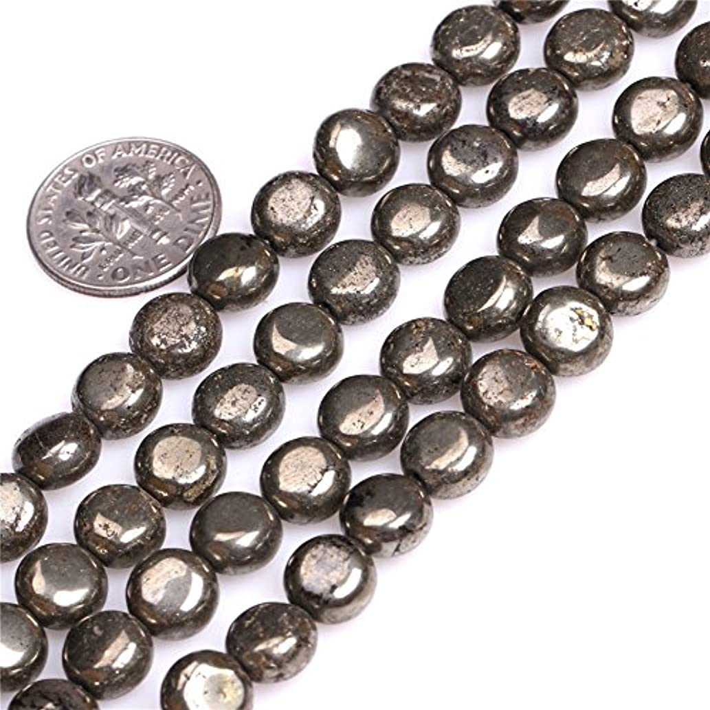 8mm Natural Coin Pyrite Gemstone Loose Beads for DIY Jewelry Making 15