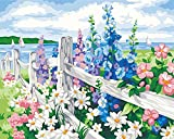 GenericBrands PintarporKitdenúmeros Valla de Flores DIY Pintura al óleo Kit con Pinceles Pinturas para Niños Seniors Junior 40*50cm sin Marco