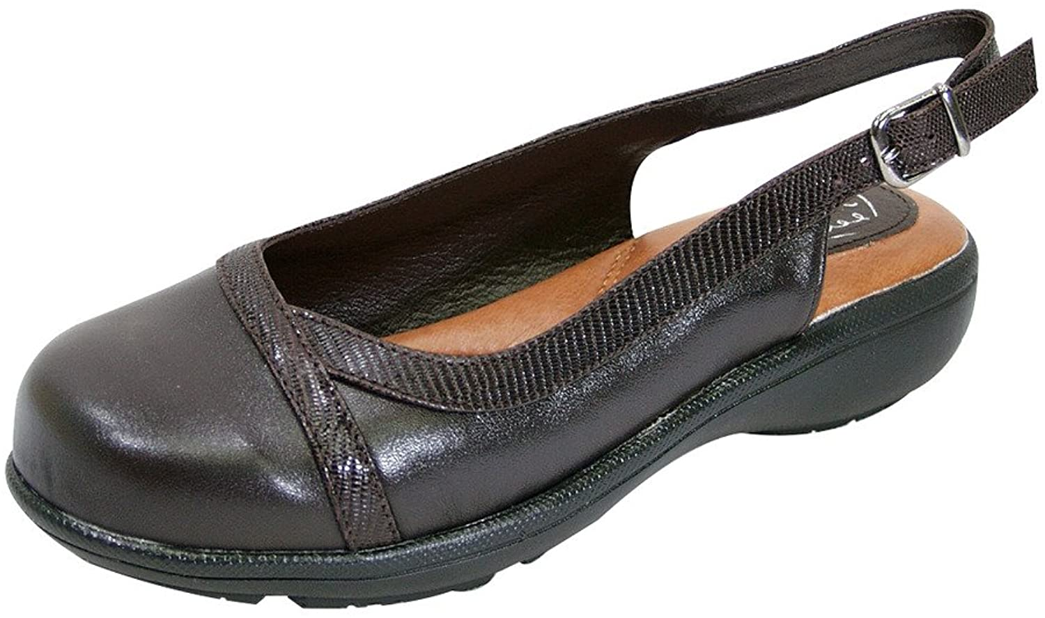 Peerage FIC June Women Extra Wide Width Leather Slingback Clog Brown 8.5