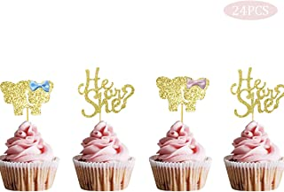 PinkBlume Double Sided Glitter Gender Reveal Cupcake Toppers He or She Cupcake Topper for Boy or Girl Baby Shower Party Decorations (24 Pack).