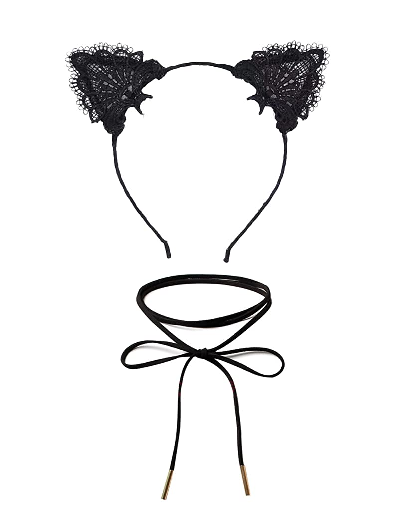DreamLily Lace Cat Ears Hair Band Fancy Dress Headpiece with Chorker Necklaces Set MD-02 qwyodntjsp