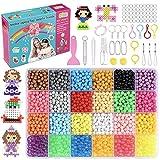 MEIRUIER 4000pcs Regalo Chico Chica Niños DIY Educativos Artesanía Craft Kits Abalorios Cuentas de Agua Rompecabezas Kit Abalorios 24 Colors(6 Jewel)
