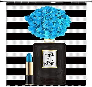 QWRSMYX Black Perfume Flower Fashion Girl Woman Shower Curtain Lady Lipstick Charming Bathroom Decoration Fabric Bathroom Set with Hook 70x70 Inch Black Blue
