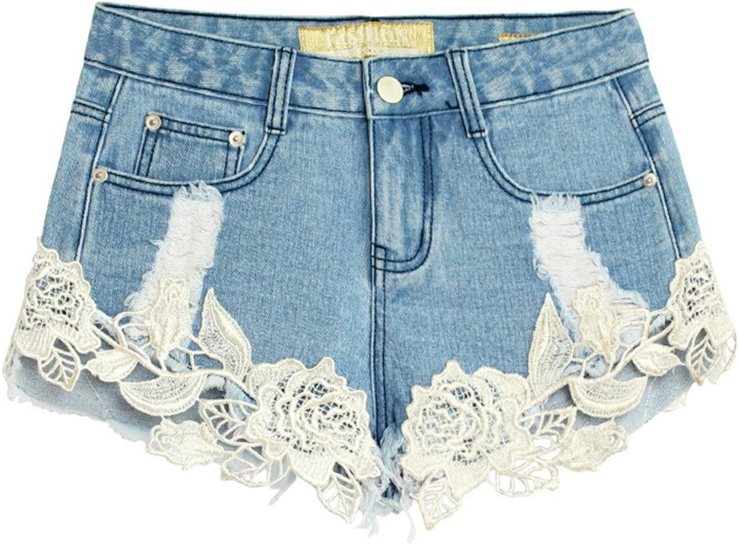 Ruiyue Slim Casual Retro Hot Sexy Spring and Summer Lace Shorts Leisure Retro Irregular Loose Fashion Hole for Women