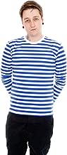 Run & Fly Mens Indie Retro 60's Royal & White Striped Long Sleeve T Shirt
