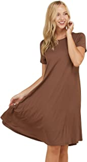 09bcd932fcdb5 Annabelle Women's Comfy Short Sleeve Scoop Neck Swing Dresses with Pockets