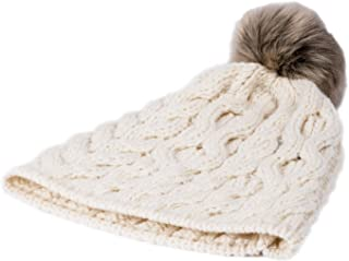 Aran Woollen Mills Supersoft Merino Knit Pom-Pom Hat