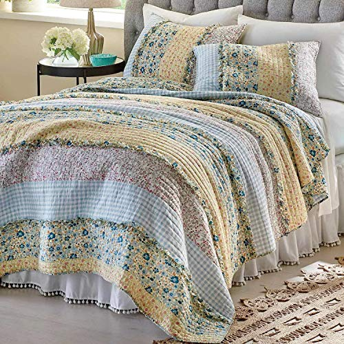 GH Quilt Coverlet Set Bedspread Chic Country Cottage - Blue Yellow Ruffles Floral Print Pattern 3 Piece Full/Queen Size - Lightweight Hypoallergenic Reversible Bedding