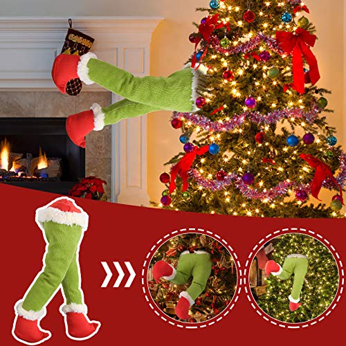 Christmas Decorations, Christmas Tree Ornament How Stole Christmas Stuffed Elf Legs Stuck in Christmas Burlap Wreath for Fireplace Car Door Party Home Decor