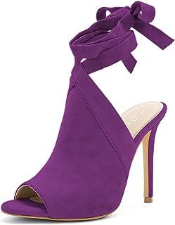 Sexy Women Peep Toe Bootie Pumps Slingback High Heels Lace-up Evening Sandals