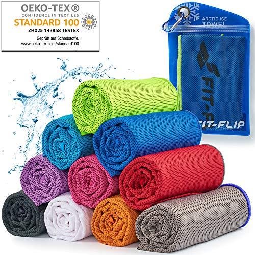 Cooling Towel für Sport & Fitness – Mikrofaser Handtuch/Kühltuch als kühlendes Handtuch für Laufen, Trekking, Reise & Yoga – Cooling Towel – Farbe: dunkel blau-neon grüner Rand, Größe: 100x30cm