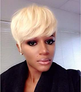 RUISENNNA Short Blonde Pixie Cut Wigs Short Synthetic Hair Wigs for Women Natural Straight Wigs Heat Resistant