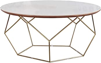 Coffee Tables for Living Room | Round Contemporary Side Tables for Home and Office | Metal Frame & Round Marble Top | Bedr...