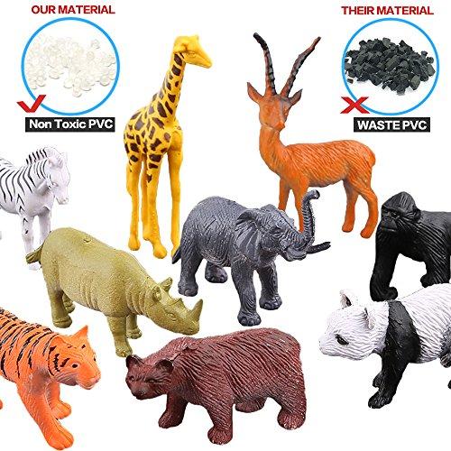 Tierfiguren, 54 Stücke Mini-Spielzeugset von Dschungel-Tieren, Tierwelt, lebensechte Wildtiere, Lernstoffe, Partyzubehör, Spielzeuge für Jungs und Kinder, Playset von Tieren im Wald und kleinen Farm - 3