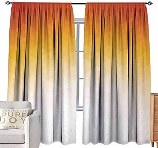 Andrea Sam Tie Up Curtain Geometric,Ombre Geometric Triangle Shape by Digital Gradient Modern Retro Decor,Orange Yellow Cream W120 x L108 inch,Tie Up Shade for Small Window