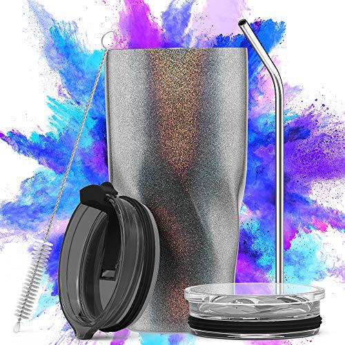 Avoalre Isolierbecher Mobil genießen Thermobecher - Kaffeebecher to go Trinkbecher | Doppelwandig Vakuum Isolierter Autobecher mit Strohhalm 2 X Deckel Tumbler Coffee to go Becher