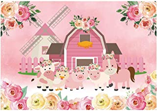Funnytree 7x5ft Cartoon Farm Animals Party Backdrop Pink Barn Floral Girl Baby Shower Birthday Photography Background Flower Rustic Barnyard Scenic Banner Cake Table Decoration Photo Booth Props