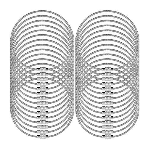 """senhai Lot de 30 Porte-clés en Fil, 5.2"""" / 13cm Câbles 2mm de Boucle Anneaux avec Joints en Acier Inoxydable – Argent"""