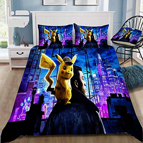 QTBDWOSW 3D Boys Duvet Cover Set Super King Cartoon Animal Elf Bedding Set Printed Comforter Cover 3 Pieces Bed Sets With Zipper Closure With 2 Soft Microfiber Pillow Cases 260X220 Cm
