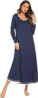 Ekouaer Sleepwear Women's Nightshirt Casual Loungewear Long Sleeve Long Nightgown S-XXL