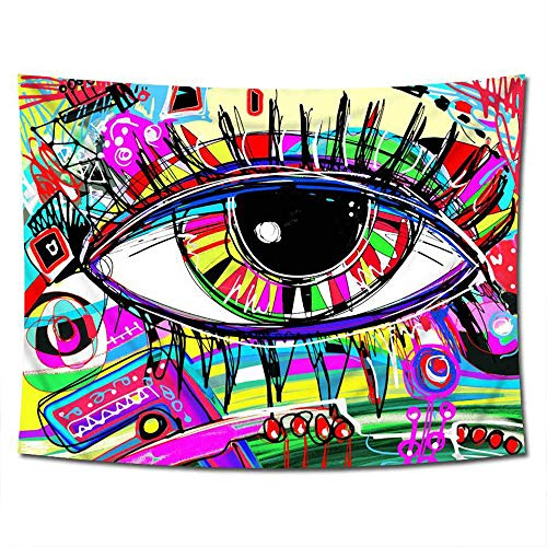 ZYLBL Tapiz de arte de graffiti para colgar en la pared, diseño de ojos, tapete de mesa, cojín de yoga para apartamentos, dormitorio, decoración de sala de estar
