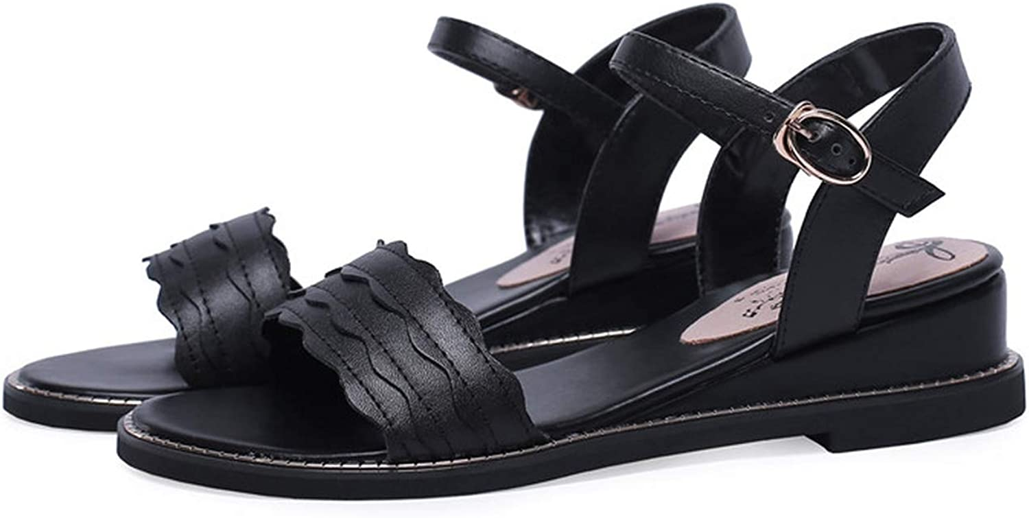 34-43 Summer shoes Woman Buckle Casual Genuine Leather shoes Women Low Heels Sandals Women