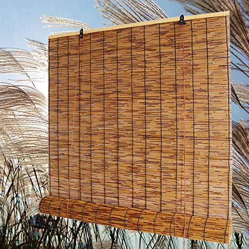 """Natural Bamboo Blinds Roller Shade,Sun Shades for Outdoor/Indoor, Natural Reed Curtain, UV Protection Waterproof Breathable Roll Up Blinds, 28"""" W × 72"""" L, 36"""" W × 64"""" L, 48"""" W × 72"""" L"""