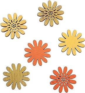 Rayher Hobby Rayher 46174000 Holz-Streuteile Blumen, 2cm Durchmesser, sortiert, SB-Btl 24Stück