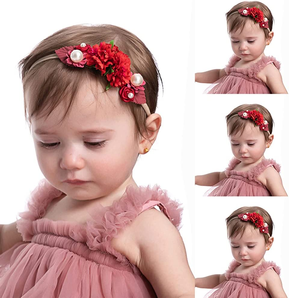 Wiwpar Flower Crown Headband Bead Headwear Elastic Adjustable Head Piece Girls Hairbands for Toddler and Childrens (Red)